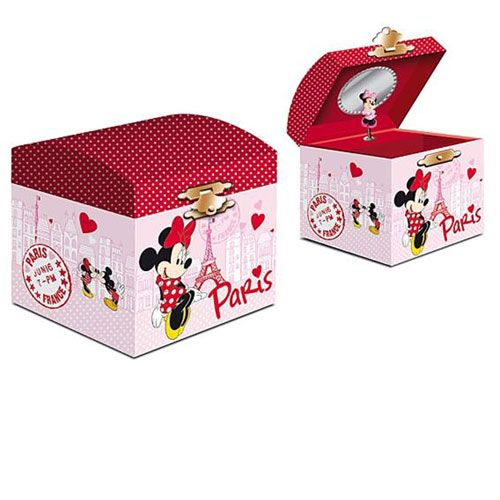 Musical minnie mouse and mickey in paris jewelry box for Minnie mouse jewelry box