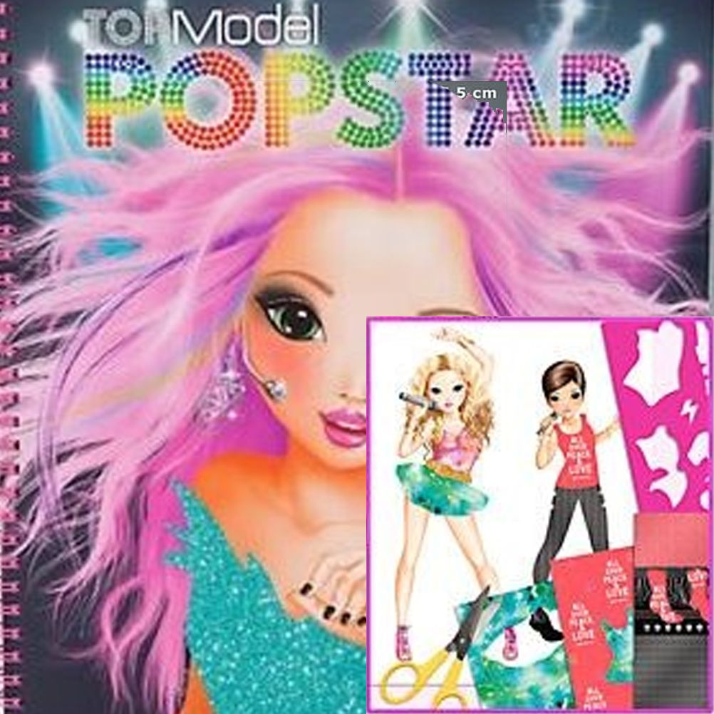 top model popstar musicale colouring book stencils schede