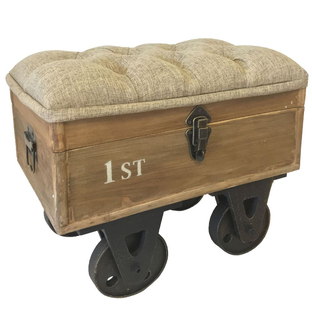 Industrial ottoman douglas industrial loft tufted for Industrial style house for sale