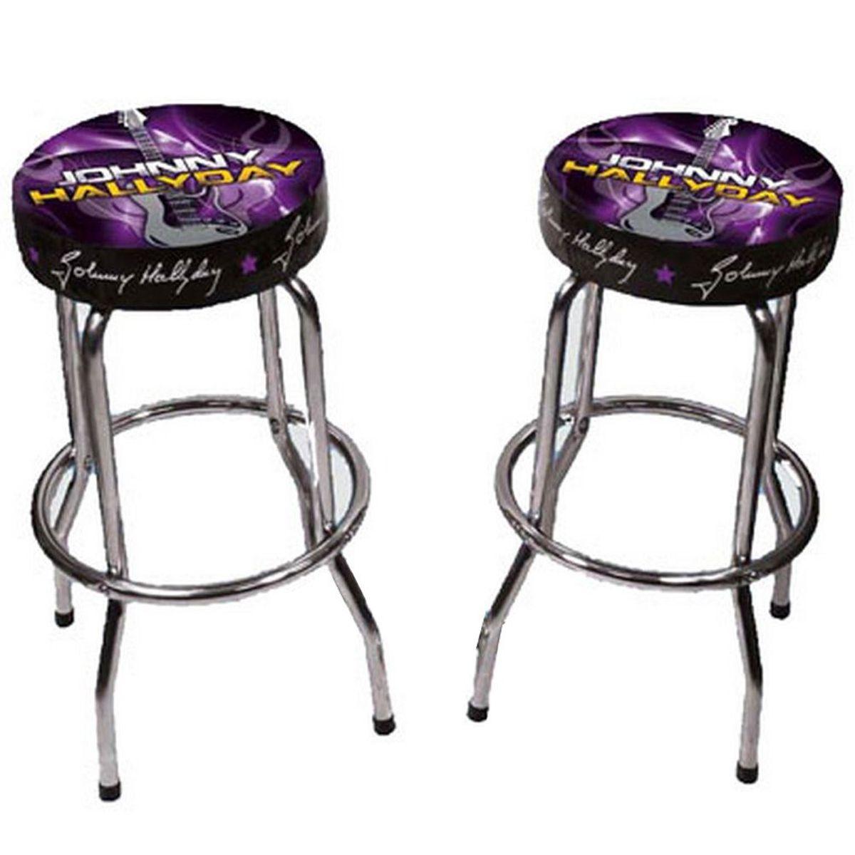 Set Of 2 Johnny Hallyday Purple Bar Stools