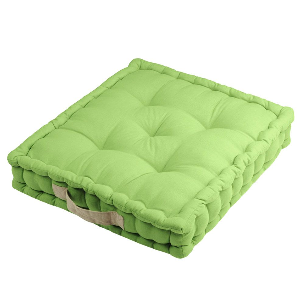 Green Floor Pillows : Cotton Floor Cushion Green and Lin 45 cm