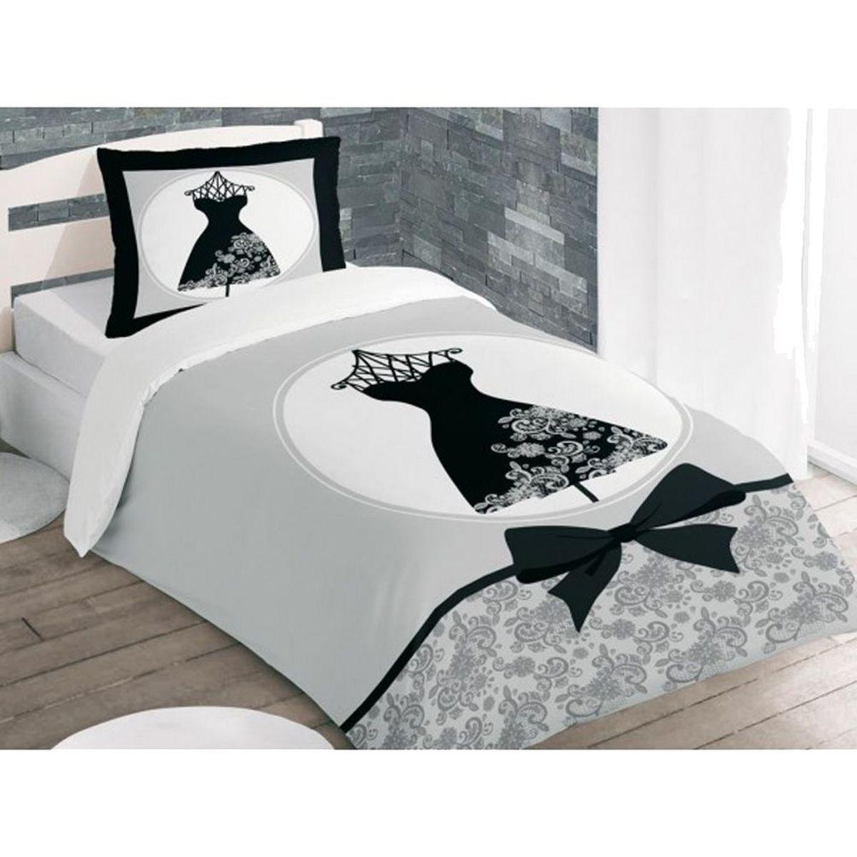 Black dress bedclothes 140 x 200 cm for Parure couette 140x200