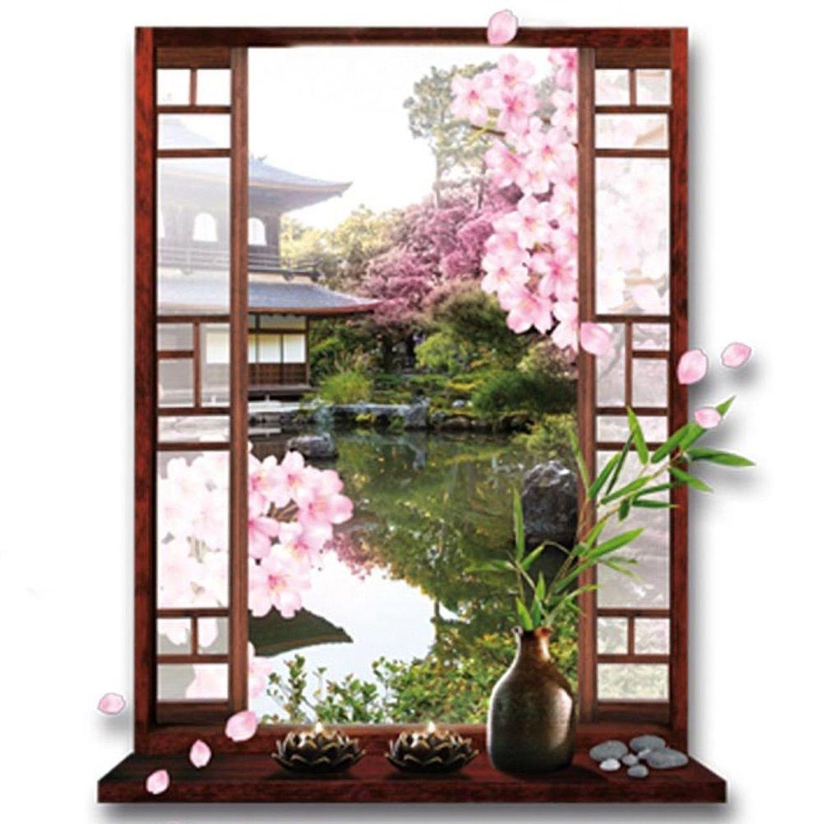 Zen japanese garden cherry tree sticker for Zen garden trees
