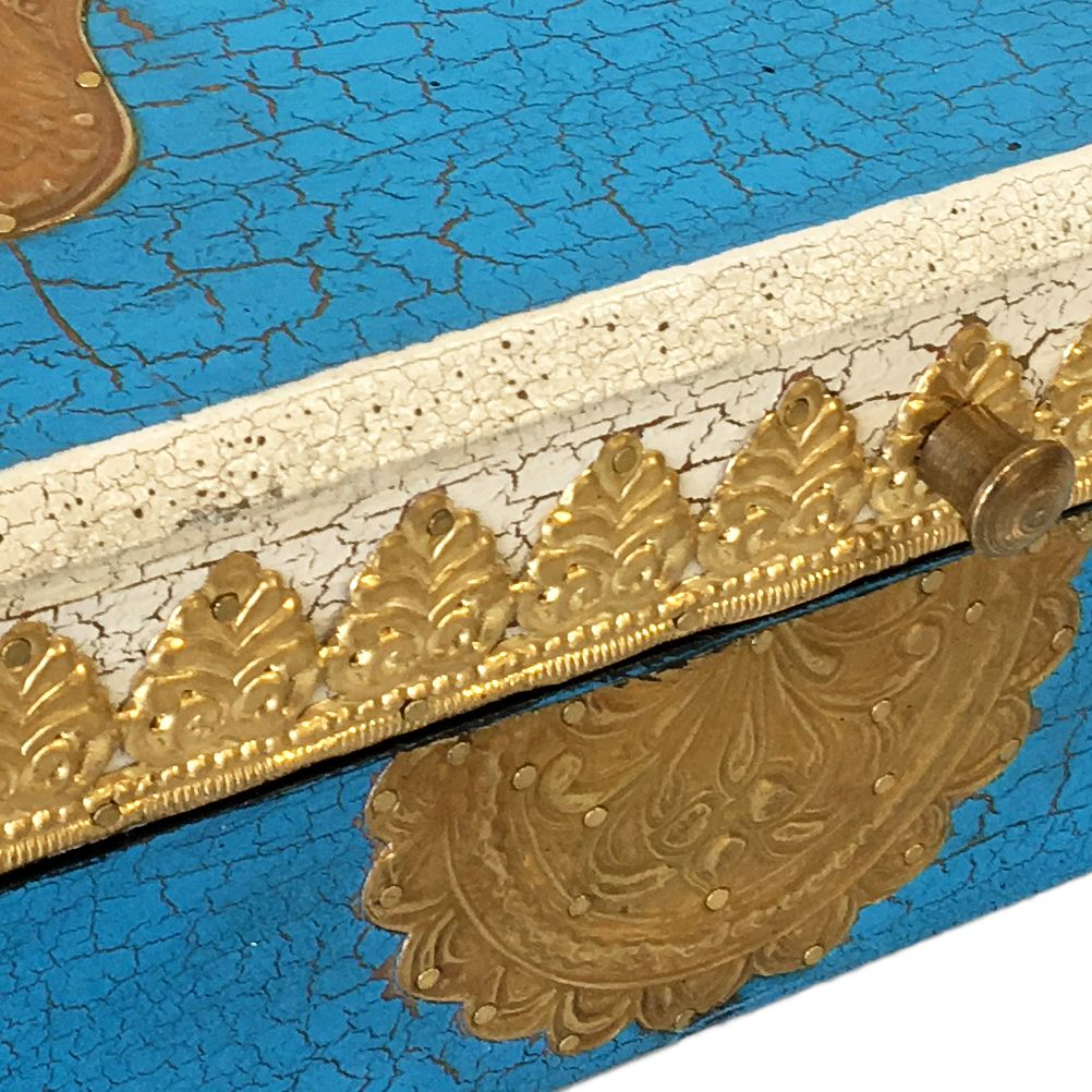 Wooden box Hand of Fatima wood blue aged and brass 20.5 cm