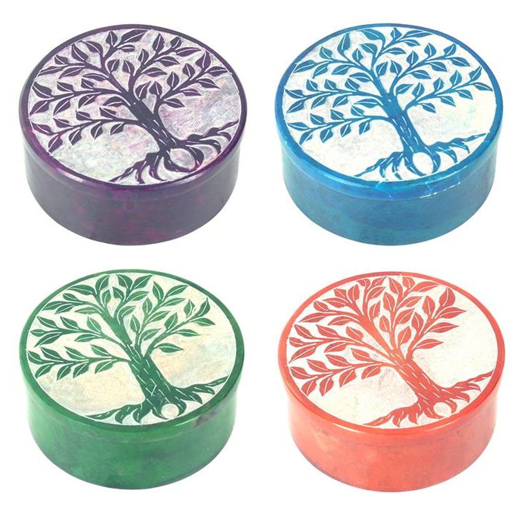 Deco box in Soapstone Tree of Life - Blue