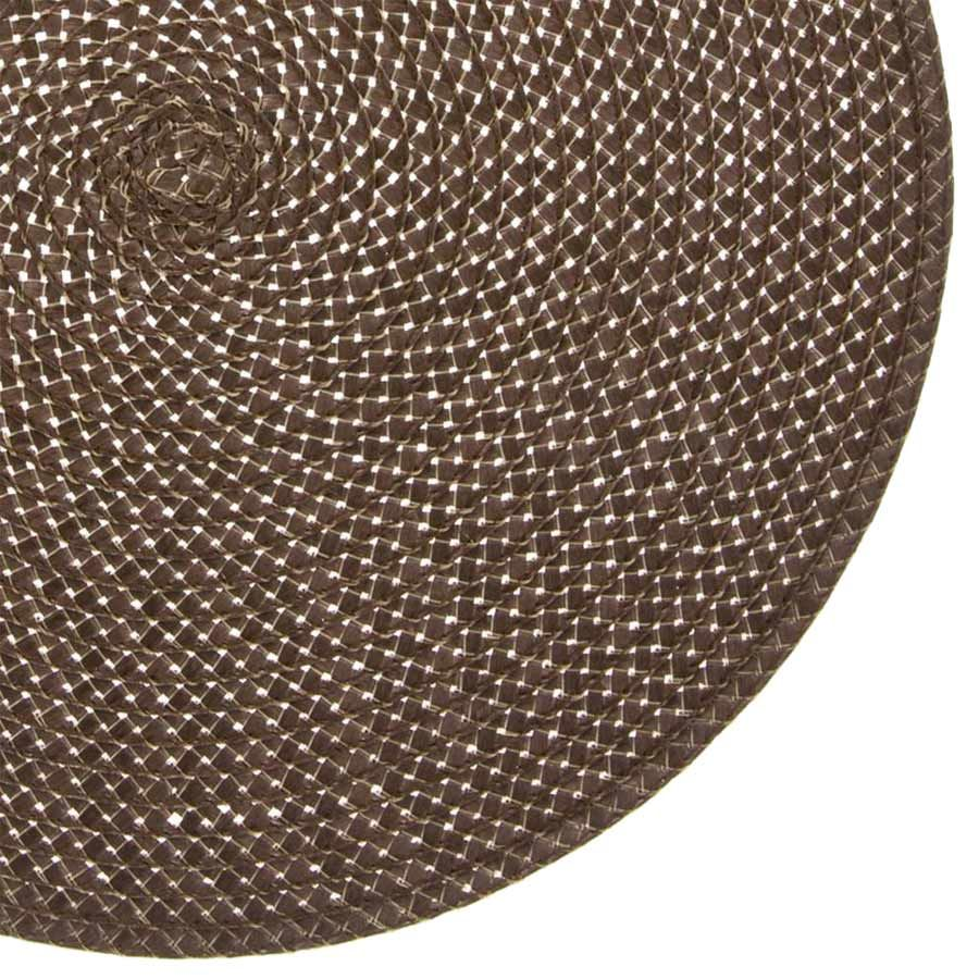 Braided brown round table mat