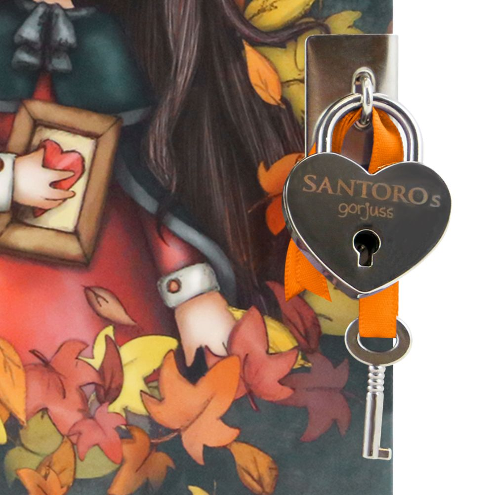 Gorjuss - Lockable Journal With Heart Shaped Lock - Autumn Leave