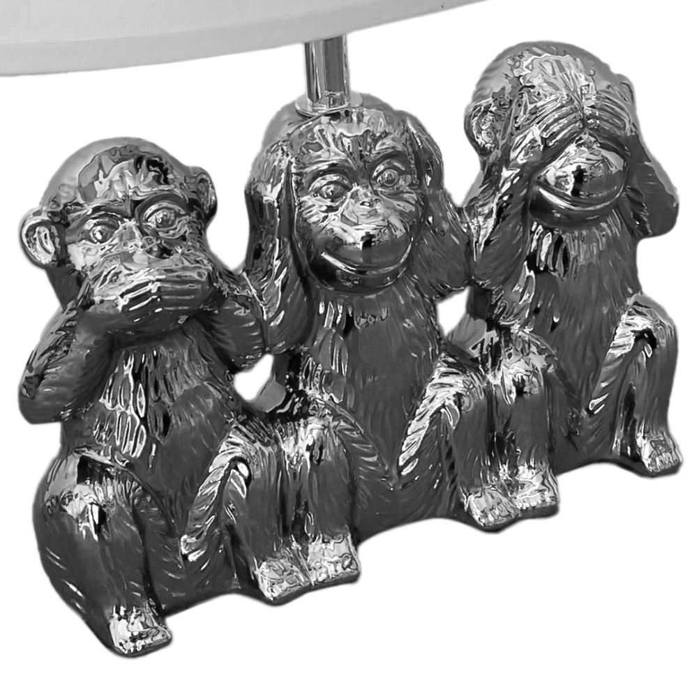 Table lamp 3 Monkeys Silver and White