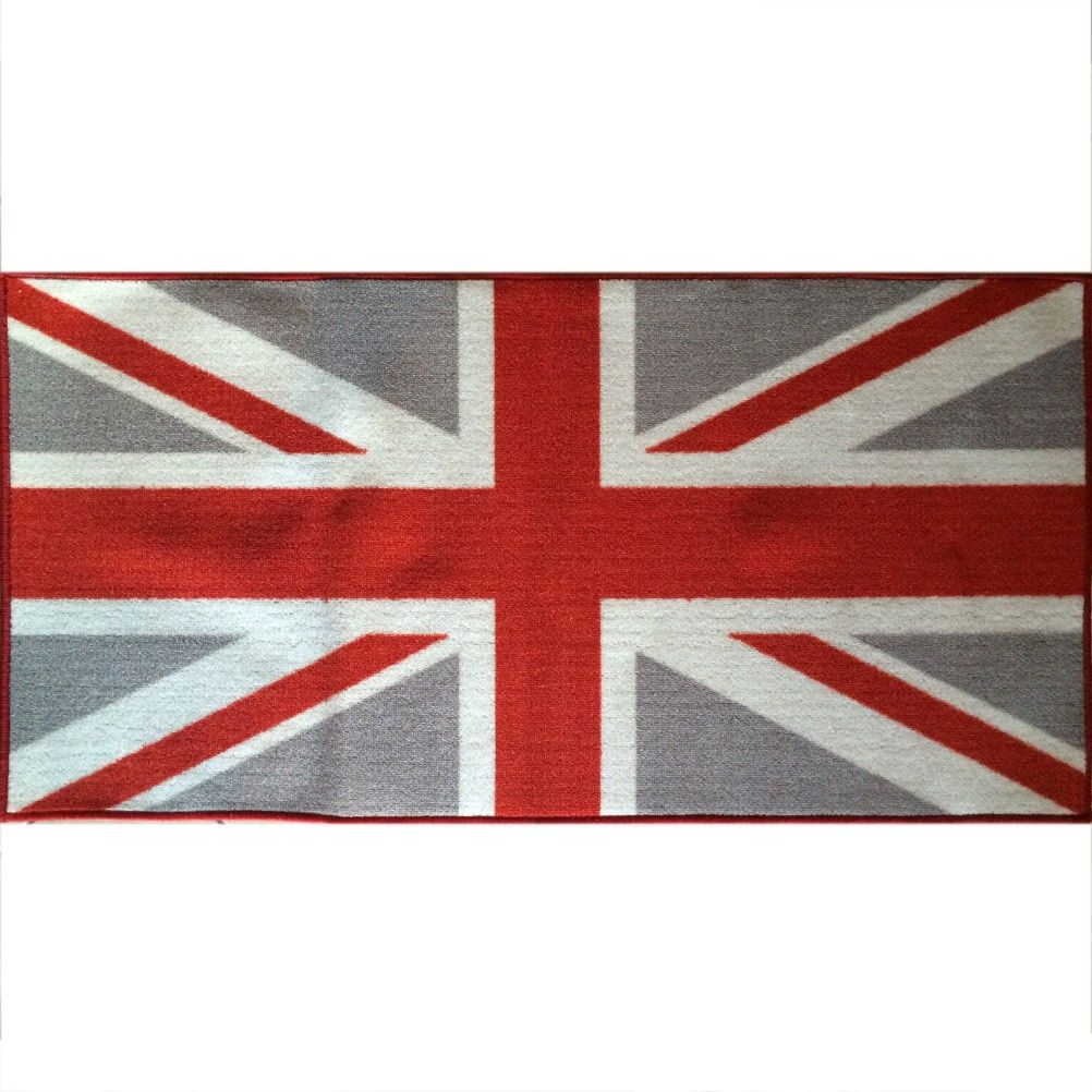 Union jack grey flag floor mat - Drapeau anglais et rouge ...