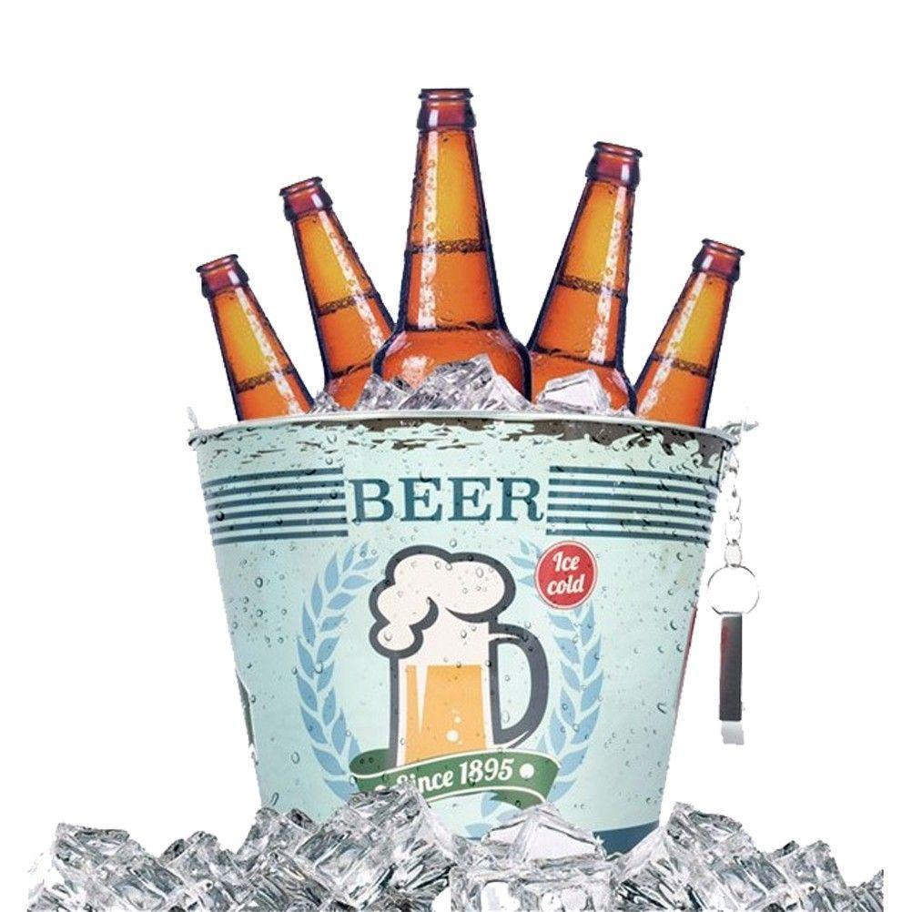 metal beer bucket with bottle opener. Black Bedroom Furniture Sets. Home Design Ideas