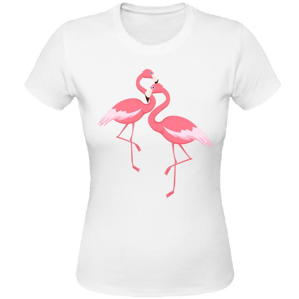 Pink flamingo white women tee shirt for Pink ladies tee shirts