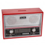 Old red radio moneybox