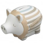 Beige, blue and white Piggy bank