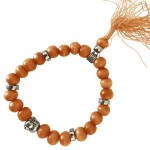 Buddhist Bracelet wooden beads - Orange