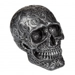 Skull Money Box resin - Silver and patina