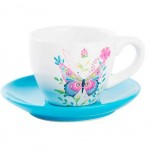 Butterfly coffee cup with saucer - Blue