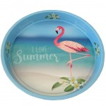 Flamingo metal tray 33 cm - Blue