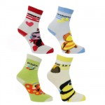 Funny Little Bugs 4 pairs of socks size 15-18