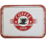Coffee Shop beige metal tray 40 x 30 cm