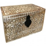Wooden box carved Indian floral pattern 17.5 cm