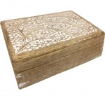 Wooden box carved floral pattern 21 cm