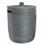 Seagrasslaundry basket Blue and Natural brown 55 cm