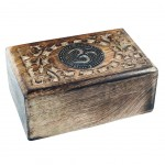 Rectangular carved box - symbol Om