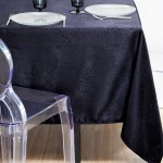 Jacquard anti stain tablecloth charcoal Grey 140 x 140 cm