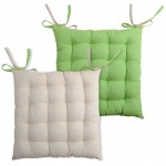 chair cushion - reversible - Green and Lin 40 cm