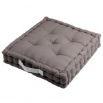 Cotton Floor Cushion Gray and Pearl 45 cm