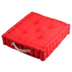Cotton Floor Cushion Red and Lin 45 cm