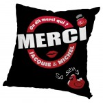 Cushion cover black JACQUIE and MICHEL 60 cm