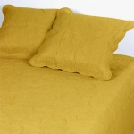 Set bedspread boutis and 2 pillowcases - Yellow Curry - 250x230