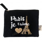 Paris black cotton pouch