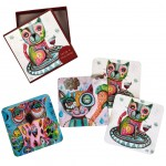 Owls and Cats Michelle Allen Designs Box of 4 coasters