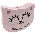 Pink cat with glitter money box