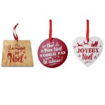 Set of 3 Wooden Tree Decorations to Hang