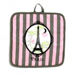 pink and taupe Eiffel Tower Potholder