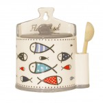 Ceramic salt box with spoon - INAYA BLUE