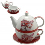 Cat Newspaper Set cup and teapot