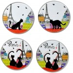 Cats in Paris 4 glass Coasters