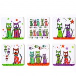 Cats and Stars 6 Coasters