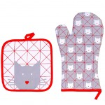 Cats Hearts potholder and glove set