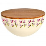 Small bamboo salad bowl with lid - Hummingbirds