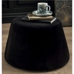 Pouf covered with black velvet 31.5 x 34 x 46.5 cm