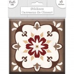 6 Cement tile stickers 15 x 15 cm - Gray and Brown