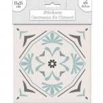 6 Cement tile stickers 15 x 15 cm - Grey and Green