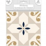 6 Cement tile stickers 15 x 15 cm - Beige and Gold