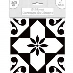 6 Cement tile stickers 15 x 15 cm - Black and White