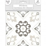 6 Cement tile stickers 15 x 15 cm - White